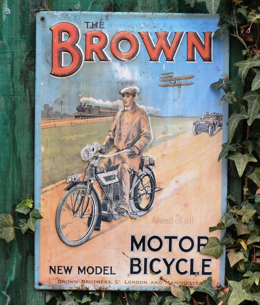 Browns Motor Bicycle Old Advertising Sign