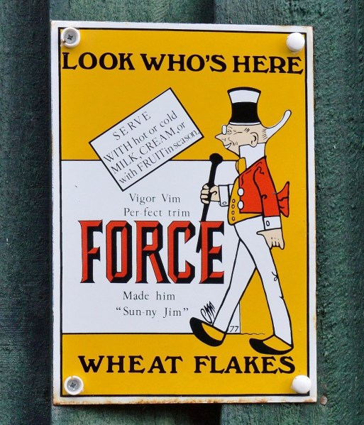 Force Wheat Flakes Old Advertising Sign