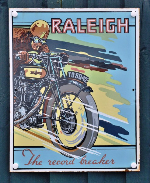 Raleigh Motorcycle Old Advertising Sign