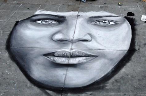 Street Art Face at Trafalgar Square