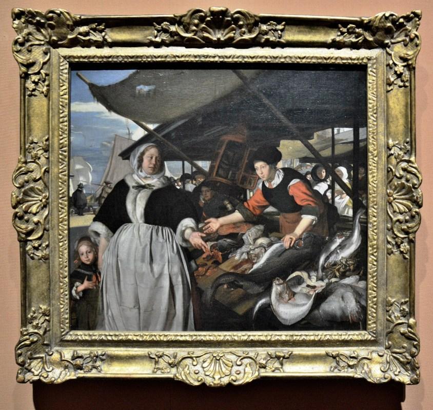 Adriana van Heusden and her Daughter at the New Fish Market in Amsterdam by Emanuel de Witte