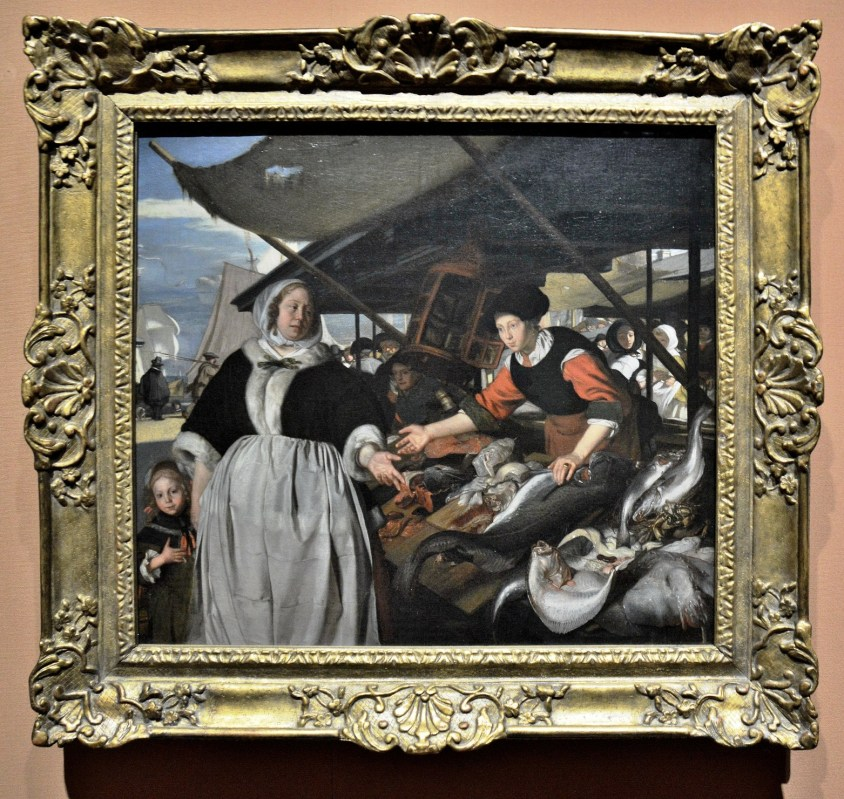 Adriana van Heusden and her Daughter at the New Fish Market in Amsterdam by Emanuel de Witte