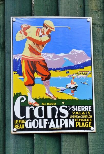 Crans Golf Alpine Vintage Advertising Sign