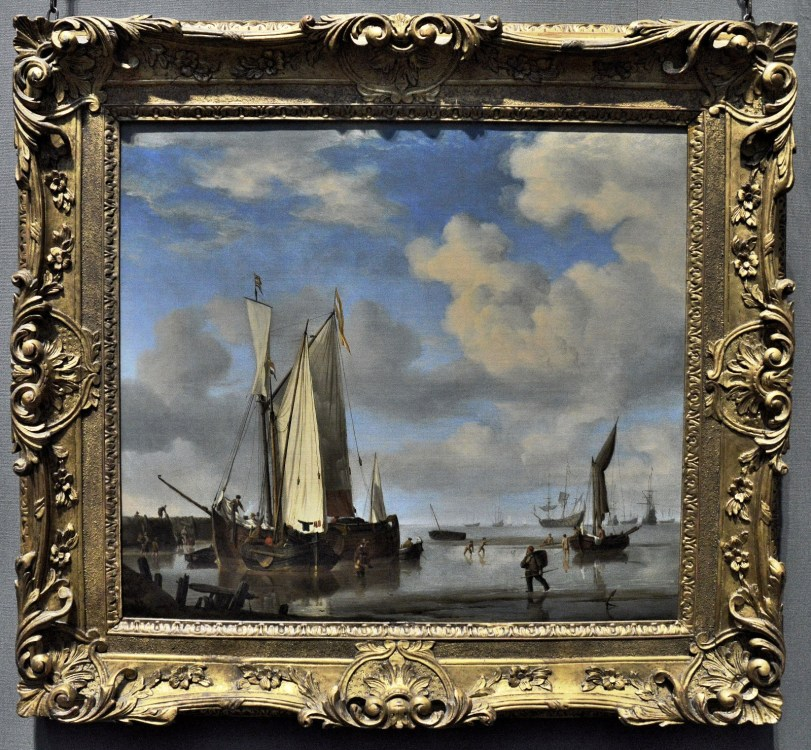 Dutch Vessels Close Inshore at Low Tide and Men Bathing by Wilem van de Velde
