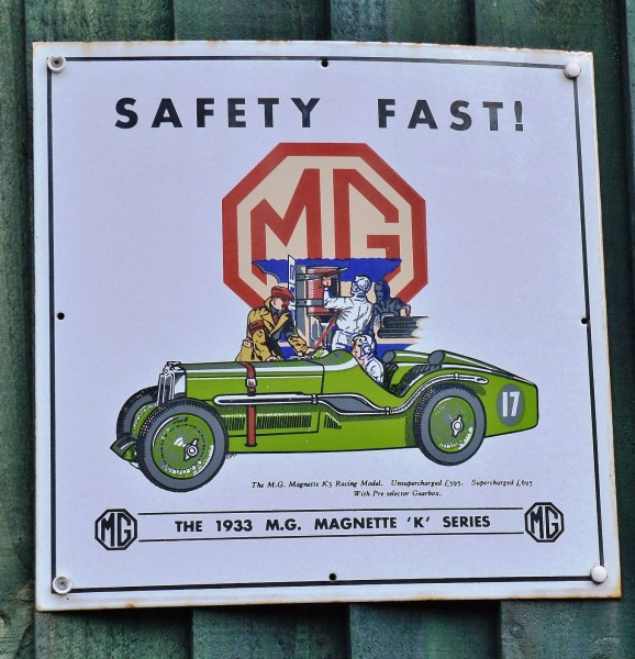 MG Magnette Vintage Advertising Sign