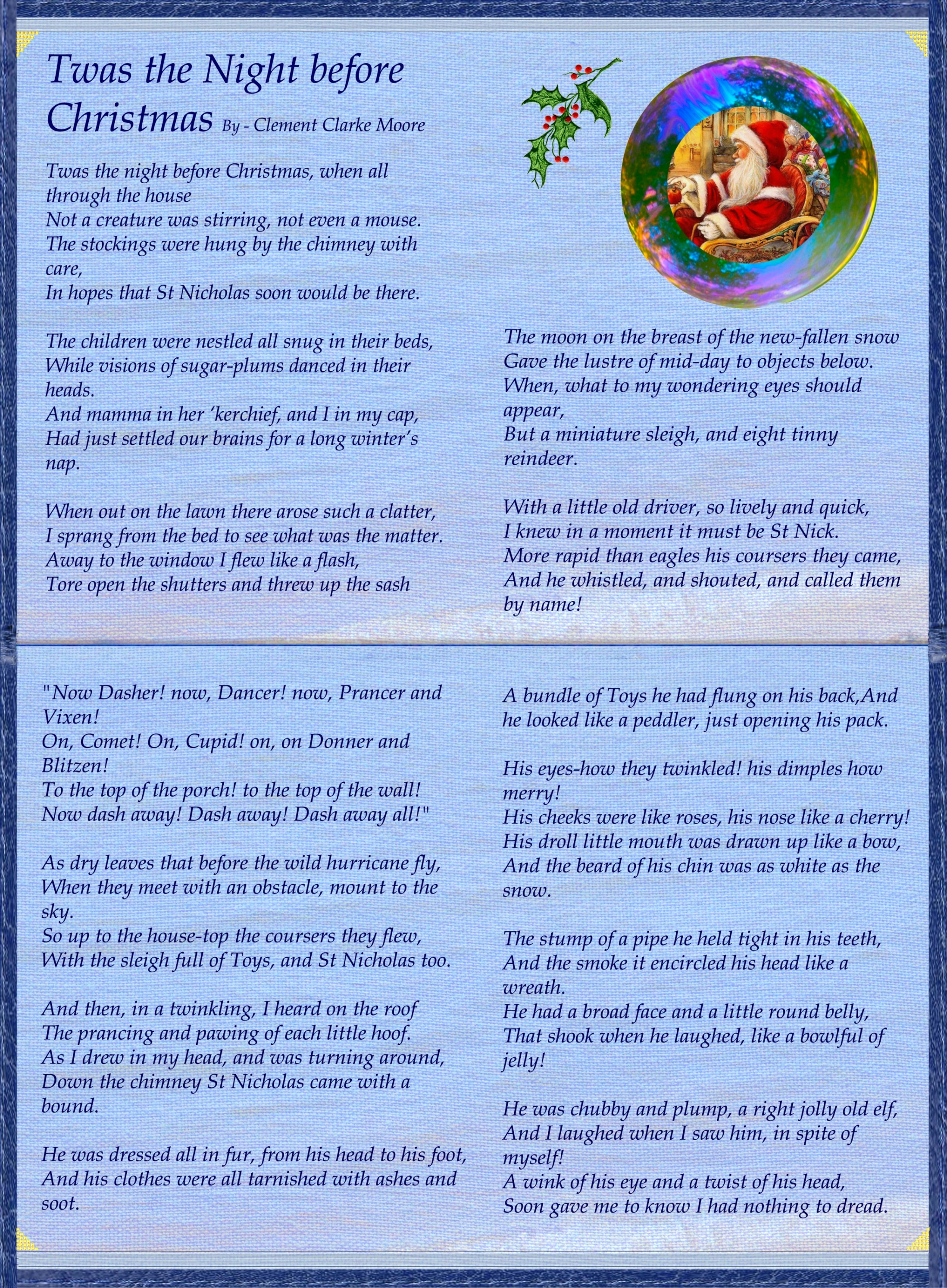 Stupendous image regarding twas the night before christmas printable