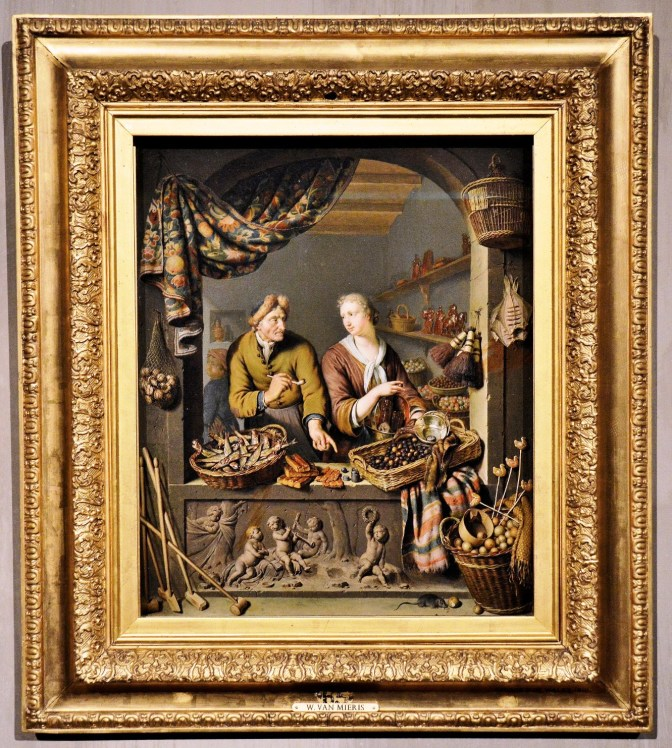 An Old Man and a Girl at a Vegetable and Fish Stall by Willem van Mierls