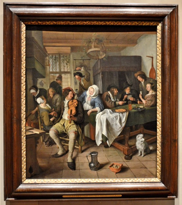 Interior of Tavern with Card Players and a Violin Player by Jan Steen