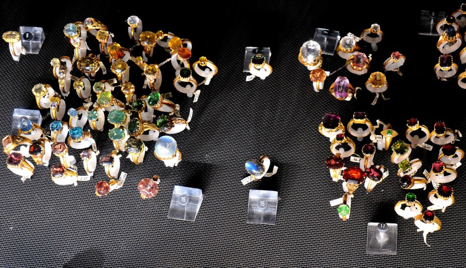 Colecton of Gemstone Rings in Earth's Treasury at the Natural History Museum