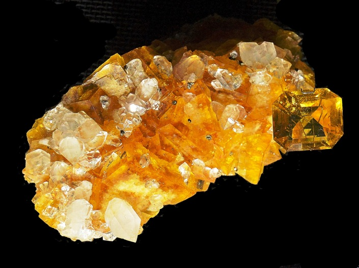 Yellow Crystals at Earth's Treasury in the Natural Hstory Museum London