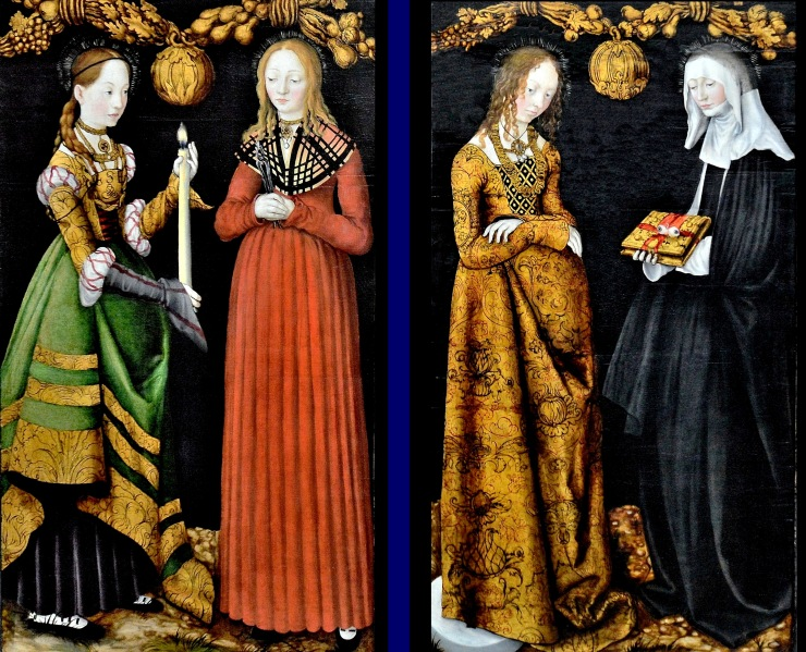 Saints Genevieve and Appollonia and Saints Christina and Ottilia by Lucas Cranach the Elder at the National Gallery