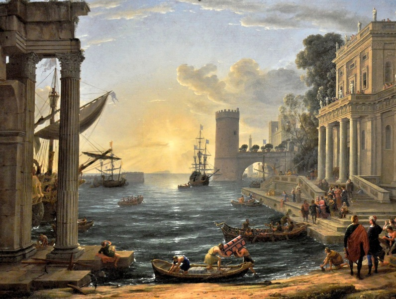 Seaport with the Embarkation of the Queen of Sheba by Claude at the National Gallery
