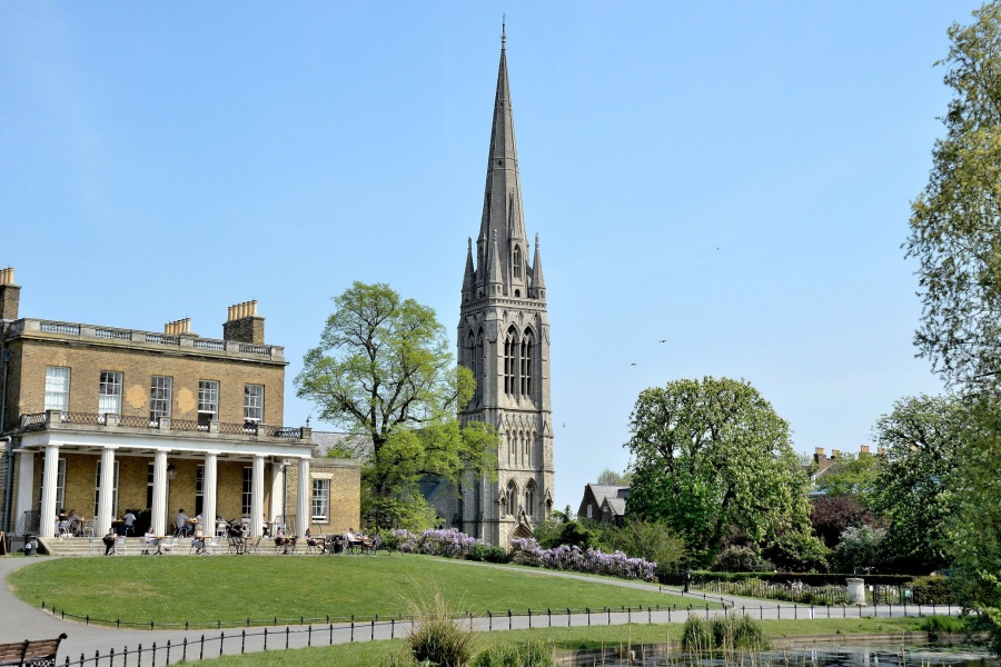 Clissold Park Cafe and St Mary's Church