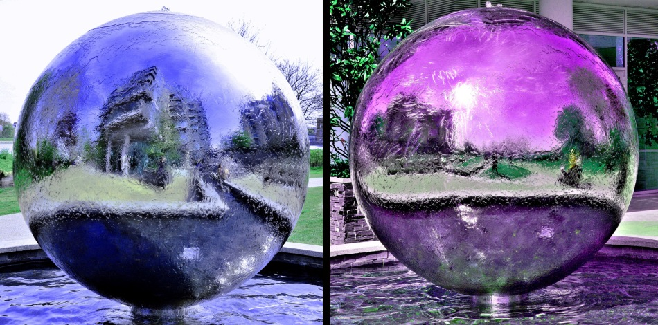 Coloured Riverside Gardens Water Feature Spheres
