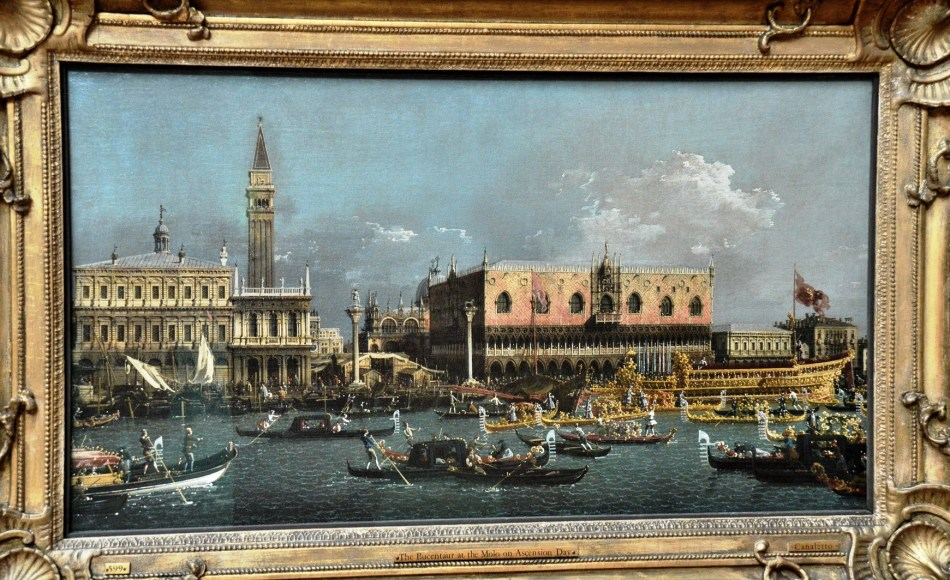The Bucentaur at Molo on Ascension by Canaletto at the Dulwich Picture Gallery